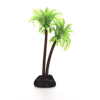 Plastic Aquarium Coconut Trees Fish Tank Plants Ornament Decoration 1pcs New 3C