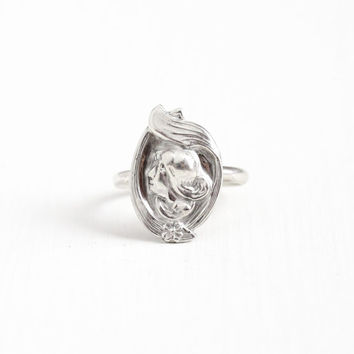 Antique Sterling Silver Gibson Girl Ring - Size 8 3/4 Art Nouveau Early 1900s Woman Flower Stick Pin Conversion Statement Jewelry