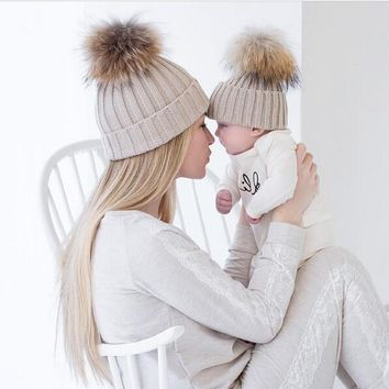 Winter Warm Mom&Newborn Baby Kids Hats Crochet Knit Hairball Beanie Cup 2PCS Mommy and me Knitting Balls Warm Winter Knitted Cap