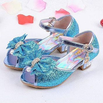 Girls sandals 2018 high heels children fashion princess leather summer elsa shoes chaussure enfants fille sandalias nina 718