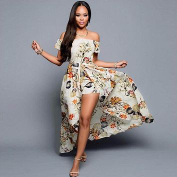 Bewitching Bohemian Romper Long Floral Maxi Dress