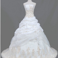 A-line Strapless Cathedral Train Taffeta Tulle Lace  Wedding Dresses With Ruffles Applique Beading Free Shipping