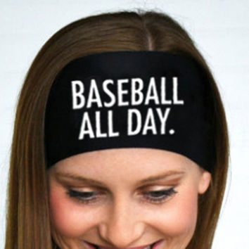 Baseball All Day Letter Printing Headband Sweatband Stretch Hair Band Red Black Unisex Headwear Fascinator Girl Hair Accessories