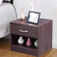 Nightstand End Table Modern Wood Storage