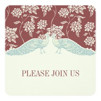 MARSALA AND IVORY CLASSIC PEACOCK Wedding Invitati 5.25x5.25 Square Paper Invitation Card