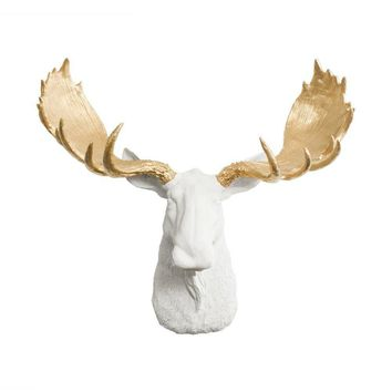 The Alberta | Moose Head | Faux Taxidermy | White + Gold Antlers Resin