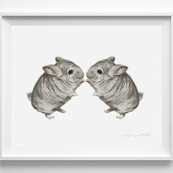 Chinchilla Painting, Watercolor, Twins. Sweet Home Decor, Nursery Art, Twins Baby Gift, Boy Girl Twins,  newborn, Baby Shower