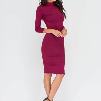 Super Base Mockneck Midi Dress