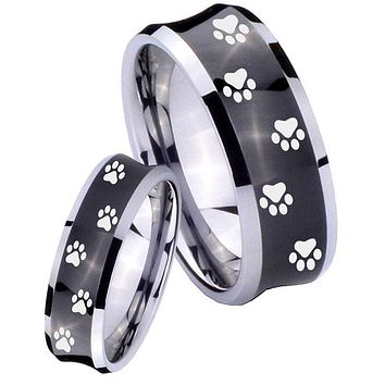 His Her Black Concave Paw Print Design Two Tone Tungsten Wedding Rings Set