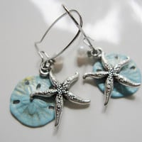 Silver Starfish Earrings Blue Sand Dollar Tiny Pearl on Kidney Wires Bridesmaid Gift - Beach wedding Dangles