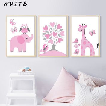Pink Cartoon Animal Poster and Prints Owl Giraffe Wall Art Canvas Painting Nordic Kids Decoration Picture Girl Bedroom Decor