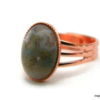 Fancy Jasper Ring Natural Stone Ring 10x14mm Copper Plated Adjustable Ring  FREE SHIPPING