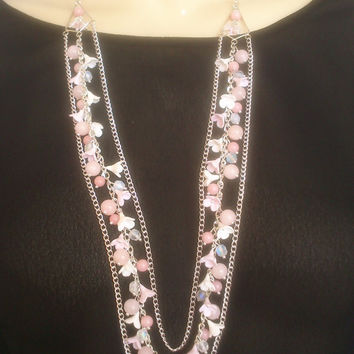 Multi strand necklace - Light pink jewelry - Handmade necklace and earrings