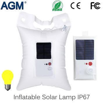 AGM Inflatable LED Solar Camping Lamp Portable Light IP67 Waterproof Foldable PVC Bag For Outdoor Tent Fishing Hiking Emergency