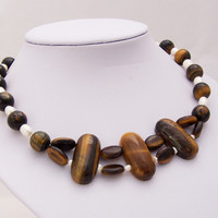 Tiger's Eye and Freshwater Pearls Necklace, Gemstone Necklace, Chunky Necklace