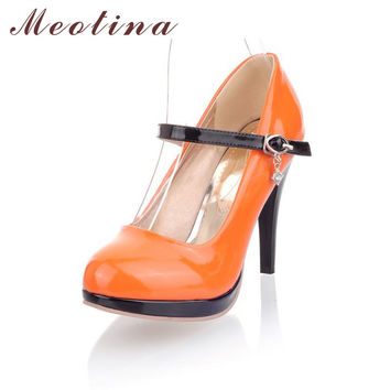 Fashion Women Shoes Pumps Closed Toe Platform Spring Mary Jane Party Thin High Heels Ladies Rhinestone Black Shoes Orange