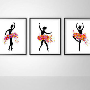 Ballerina wall decor Printable ballet Ballerina floral dress Modern minimalist Gift for dancer Ballet wall art Print it out Instant download