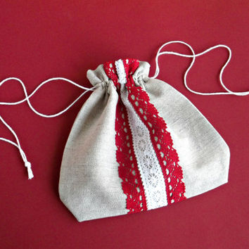 Christmas sack natural drawstring pouch fabric gif bag Red white lace Light grey linen storage bag