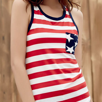 Red Stripe Stars Patch Pocket Tank Top