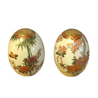 1920s Finely Painted Bird and Flower Salt & Pepper Shaker Set, Vintage Bohemian Home Decor