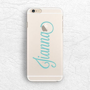 Tiffany blue Personalized name transparent phone case for iPhone 6, iPhone 5 5s, LG G3, Sony z3, HTC One m8, Monogrammed clear phone cover