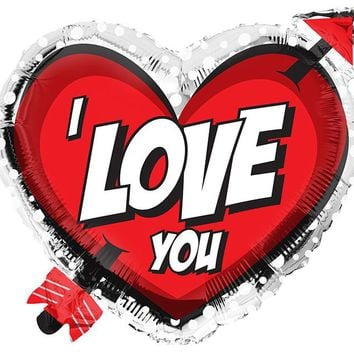 "I Love You"" 18 Heart Shaped Foil Balloon"
