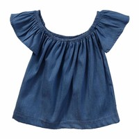 Little Baby Toddler Girls Summer Ruffle Sleeve Denim Blue Top
