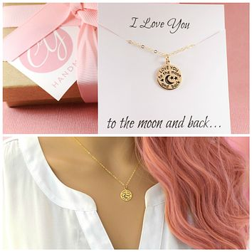 Dainty I Love You To The Moon and Back 14k Gold Filled Necklace / Gift for Her / Simple Jewelry