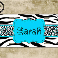 Personalized cute license plate - Zebra print and Cheetah with light blue - monogram name car tag, front license plate name (1012)