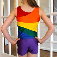 Rainbow Leotard for Gymnastics or Dance 2t, 3t, 4t, 5t, 6, 7, 8, 9, 10, 11, 12, 13, 14