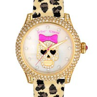 Betsey Johnson Skull Dial Leather Strap Watch, 40mm