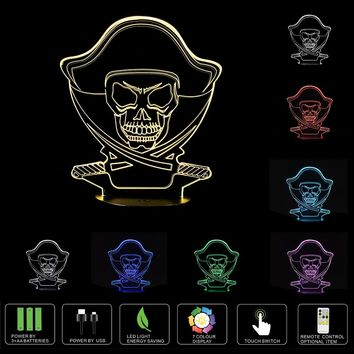 Illusion Skull 3D LED Night Light Acrylic 7 Colors Changing Bedroom USB Table Lamp Touch And Remote Switch