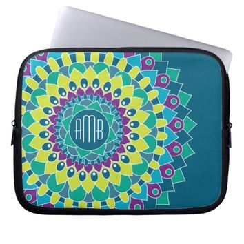 Bohemian Flower with Monograms Laptop Computer Sleeves