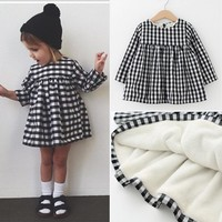 Baby Girls Dress Long Sleeve Baby Girl Clothes Newborn Winter Thicken Baby Girl Clothing Plaid Dress Girls Fashion 2017 Princess