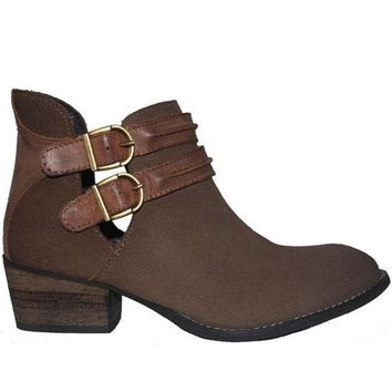 CREYONIG Steve Madden Raskal - Taupe Leather/Suede Dual Buckle Strap Bootie