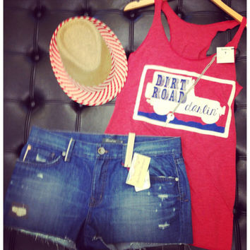 Judith March Dirt Road darlin tank - Red - BOMSHELL BOUTIQUE