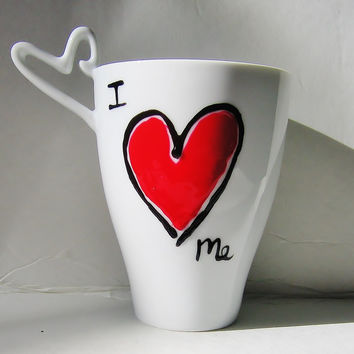 I Love You Gift - Personalized Red Heart Mug