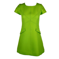 1960s Courreges Iconic Electric Green Wool Minidress