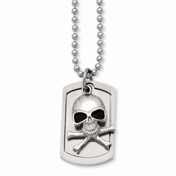 Stainless Steel Antiqued Skull & Cross Bones Dog Tag Necklace