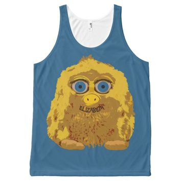 Cute Yellow Yeti Bigfoot With Big Blue Eyes All-Over Print Tank Top