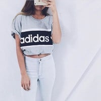 Adidas Women Gray Loose Tee T-shirt