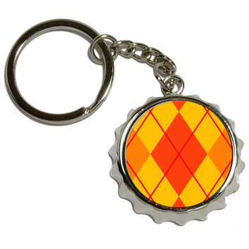 Argyle Hipster Orange Pop Cap Bottle Opener Keychain