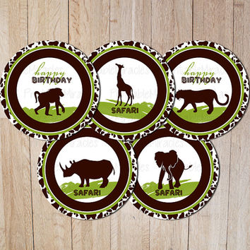Safari zoo birthday party decoration PRINTABLE circles Stickers African green brown elephant giraffe animals cupcake toppers DIY silhouette