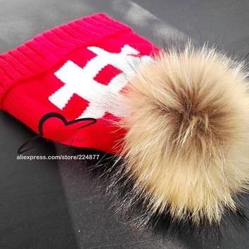 Special Offer Mink And Fox Ball Cap Pom Poms Winter Hat For Women Girl 's Wool Hat knitted Beanies Brand New Thick Female