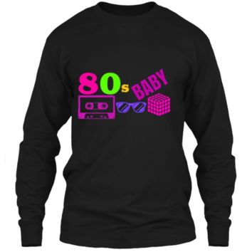 COOL POPULAR: 80s BABY Neon Shirt Party Outfit Gift Idea LS Ultra Cotton Tshirt
