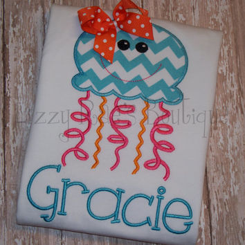 SALE- Jellyfish applique shirt- Summer applique shirt- Beach applique shirt