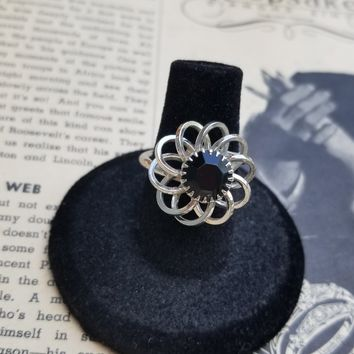 Sarah Coventry signed vintage silver toned floral black rhinestone ring size 6