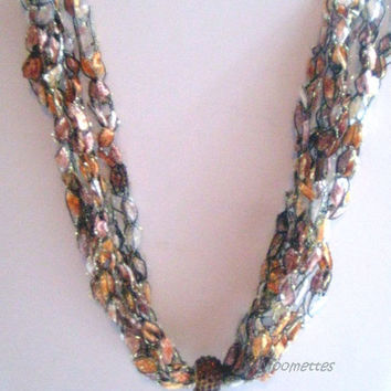 ON SALE Topaz Bead Necklace Crochet Necklace Ladder Yarn Necklace Brown Trellis Ribbon Crocheted Jewelry Gift for Mom