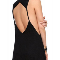 Black Sleeveless Dress with Back Hexagon Cut-out