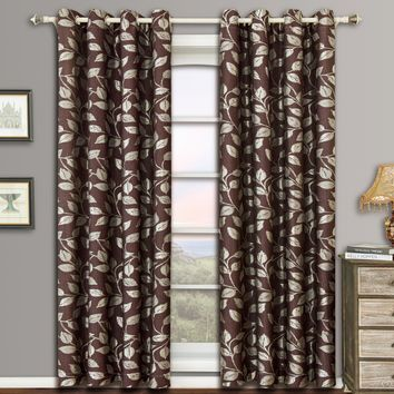 Chocolate Charlotte Pair (Two Panels ) Jacquard Grommet Curtain Panels